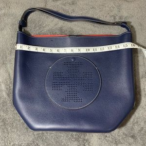 Tory Burch Ella Tote Blue Leather and Red Lining
